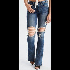 AEO Hi Rise Slim Flare Distressed Jeans size 12